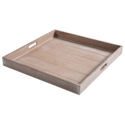 Large Shabby Chic Square Wood Serving Tray for Breakfast in Bed, Tea, Coffee - 48cm x 48cm - MyGift