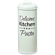 The Farmers Market DELICIOUS KITCHEN PASTA, Canister Keeper, Triple Heart Graphic, Vintage Word Art Text, Galvanised White Metal, 11 3/4 Tall Inches, By Whole House Worlds