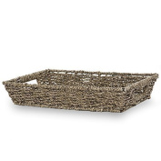 The Lucky Clover Trading Coffee Rectangular Seagrass Tray Basket, 36cm L
