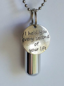 """""""I Held You Every Second Of Your Life"""" Child/Infant Personal CREMATION URN NECKLACE includes Velvet Pouch, Chain & Fill Kit"""