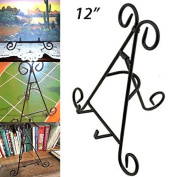 Adorox Tall Black Iron Display Stand Holds Cook Books, Plates, Pictures & More!