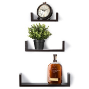 Floating Shelves Set of 3 Wall Shelves - Espresso Finish Wooden Shelves - By Saganizer