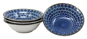 Ebros Gift Made in Japan Blue Snow Flakes Japanese Bowls Glazed Ceramic Rice Meal Soup Dining 14cm Diameter Bowl Set Serves Four Great Gift Housewarming Asian Living Decor