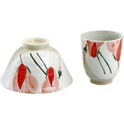 CtoC JAPAN Rice bowl & Cup set Pottery Size(cm):Diameter 7x8,Diameter 12.2x7.1 ca111704