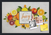 PinPix decorative pin cork bulletin board made from canvas, Recipe Board with Fruit 60cm x 41cm (Completed Size) and framed in Satin Black
