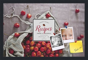PinPix decorative pin cork bulletin board made from canvas, Recipe Board with Bag of Cherries 60cm x 41cm (Completed Size) and framed in Satin Black