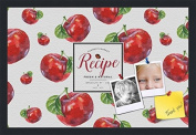 PinPix decorative pin cork bulletin board made from canvas, Recipe Board with Red Apples 60cm x 41cm (Completed Size) and framed in Satin Black