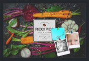 PinPix decorative pin cork bulletin board made from canvas, Recipe Board with Root Vegetables 60cm x 41cm (Completed Size) and framed in Satin Black