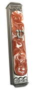 Mezuzah, Easy Mount, Art Glass on Metal CaseGift Box and Non-Kosher Scroll Included