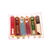 A Set of 6 Gold plated Mezuzahs with different enamelled themes. Each is about 7.6cm .