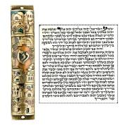 Gold Enamel Jewish MEZUZAH CASE with Scroll Jerusalem Israel Judaica Door Mezuza 15cm