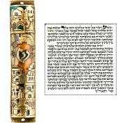 Gold Enamel Jewish MEZUZAH CASE with Scroll Jerusalem Israel Judaica Door Mezuza 13cm