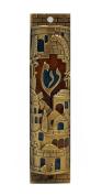 Gold Enamel Jewish MEZUZAH CASE with Scroll Jerusalem Israel Judaica Door Mezuza 10cm