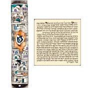 Silver Enamel Jewish MEZUZAH CASE with Scroll Jerusalem Israel Judaica Door Mezuza 13cm