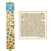 Blue Enamel MEZUZAH CASE with Scroll Hebrew Parchment Menorah Judaica Door Mezuza Made In Israel 9 cm