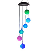 Lainin Solar Wind Spinner Colour Changing Glow Ball Wind Chime Lamp Mobile For Home Outdoor Garden Ligting Decor