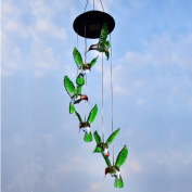 Hummingbird LED Solar Wind Spinner Outdoor Cool White LED Wind Chime Light
