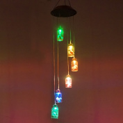 Colour Changing Solar Light Wind Chimes (Lucky Star) Multi-colour Lucky Star Hanging Windbell Light Mobile Hanging lamp for Patio Gardening Lighting Home Decoration
