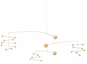 Symphony in 3 Movements Hanging Mobile - 80cm - Beech Wood and Steel - Handmade in Denmark by Flensted