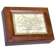 Wonderful Daughter Dark Wood Finish Jewellery Music Box - Plays Tune You Are My Sunshine