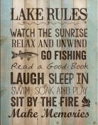 Lake Rules Relax Unwind Fishing Memories 41cm x 30cm Wood Board Plank Wall Sign Plaque
