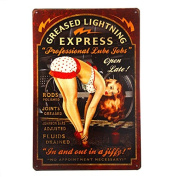 "T-ray Greased Lightning Pin Up Girl Sign this ""Professional Lube Jobs"" pin up girl sign is a great garage or man cave sign"