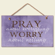 Highland Graphics Pray About Everything Wooden Sign Decor 24cm by 15cm 41-250