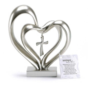 Marriage Takes Three Matte Silver Finish 33cm Cross in Middle of Hearts Tabletopper