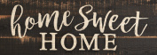 Home Sweet Home Script Design Black Distressed 41cm x 15cm Solid Pine Wood Plank Wall Plaque Sign