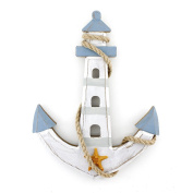 25cm x 19cm Wooden Nautical Lighthouse Anchor Wall Hanging Ornament Plaque