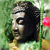 The Massive Buddha Head Garden Sculpture, Bronze Tone, Hand Cast Poly-resin, Weather Resistant, 21kg, Over 0.9m Tall, From The Serenity Collection, By Whole House Worlds