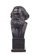 German Philosopher Socialist Karl Marx Stone Bust Statue Sculpture 12cm black
