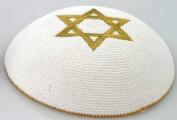 Knitted White Kippah with Golden Star of Magen David