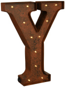 "The Gerson Company ""Y"" LED Decorative Lighted Metal Letter with Rustic Brown Finish and Timer Function"