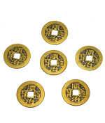 """6pcs/set Brass Chinese Feng Shui I Ching Divination Coins For Success Dia 1.1"""" W Fengshuisale Bag Y-1055"""