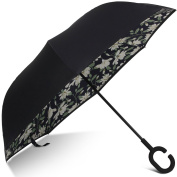 Windproof UV Protection Inverted Umbrella Cars Reverse folding Umbrellas, Larger C Shaped Hook Handle for Firmer Grip by E-Joy