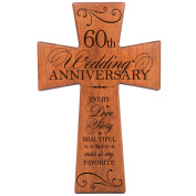 60th Wedding Anniversary Cherry Wood Wall Cross Gift for Couple, 60th Anniversary Gifts for Her,60th Wedding Anniversary Gifts for Him Every Love Story Is Beautiful but Ours Is My Favourite # 62869