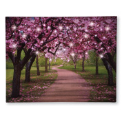 Lighted Cherry Blossom Trees Canvas, Pink