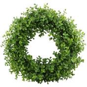 GTidea 41cm - 43cm Artificial Eucalyptus Wreath Spring Front Door Wreath Greenery Garland Home Office Wall Wedding Decor