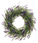 50cm Artificial Lavender Wreath On Twig Base