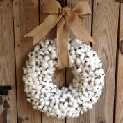 Flora Décor Vintage Faux Cotton Wreath With Burlap Bow - 50cm