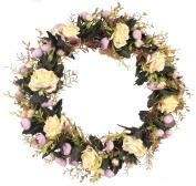 Duovlo Rose Floral Twig Wreath 48cm Handmade Artificial Flowers Garland Front Door Wreath