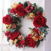 Large blooming Red rose wreath handmade home wall decor Vintage Style