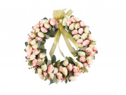 Rose Wreath Silk Flower Head Floral Home Wall Decor