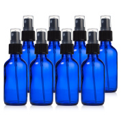 Glass Spray Bottles – 8 Piece 60ml Cobalt Blue Small Glass Bottles Set with Fine Mist Sprayer By Papifleure –Reusable Dark Coloured Potion Bottles For Travel and Any Purpose
