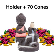 Incense Burner Backflow Set Mixed Aromatherapy Tower Cones Sticks Holder Ceramic Waterfall Buddha Monk Ash Catcher -IN007 Red