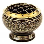 Beautiful Solid Brass Black Screen Burner with Golden Carving. Black Wood Coaster Is Included. An Artistic Carved Burner.