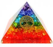 7 Chakra Crystal Tree of Life Orgone Pyramid Kit / Includes 4 Crystal Quartz Energy Points / EMF Protection Meditation Yoga Energy Generator …