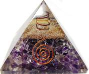 Amethyst Crystal Orgone Reiki Pyramid Kit / Includes 4 Crystal Quartz Energy Points / EMF Protection Meditation Yoga Energy Generator