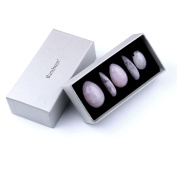 Rose Quartz Yoni Egg 5 Piece Healing Crystals Set, 3 Rose Crystal Quartz Drilled Eggs in Graduated Sizes for Kegel Exercise or Vaginal Training (Small, Medium, Large) & 2 Worry Stones for Meditation